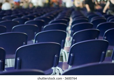 Empty rows of chairs at an event