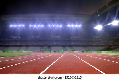 Empty running track in a stadium