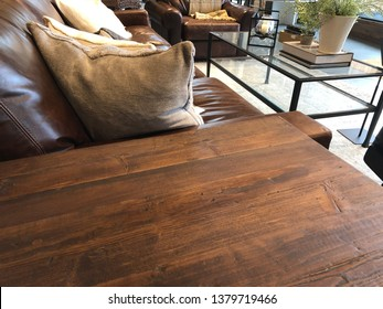 Empty rustic or vintage wooden table corner in living room of the background