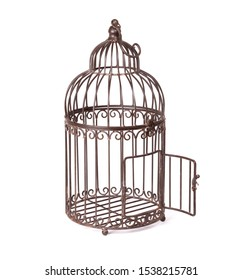 Empty rusty birdcage on white background, isolated