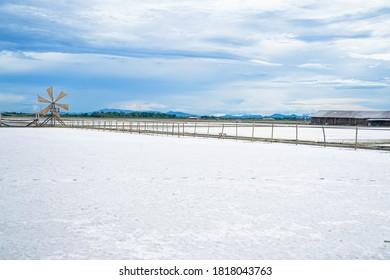 empty salt field after harvest salt,salt