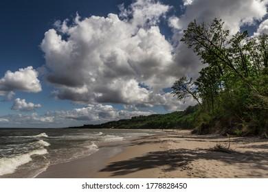 Empty sandy beach at Baltic sea near Wladyslawowo  in Poland