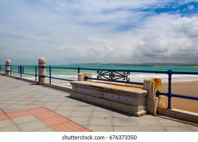 Empty Santander waterfront promenade, Cantabria, Spain
