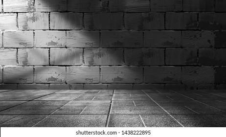 Empty scene background. Old brick wall, wooden floor. Spotlight in the dark