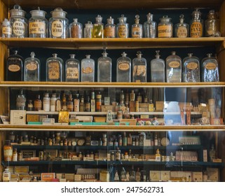 Empty scent bottles in old pharmacy
