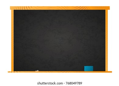 Empty school blackboard in wooden frame with chalk and sponge on shelf isolated on white