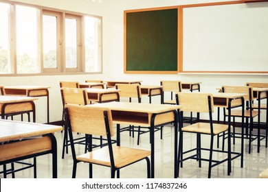 Empty School classroom with desks chair wood, greenboard and whiteboard in high school Thailand, vintage tone education concept