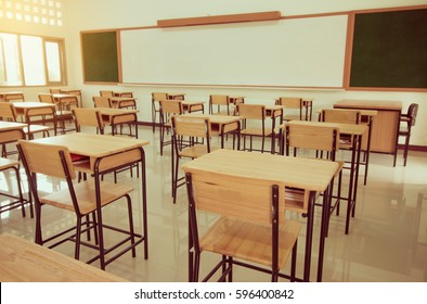Empty of School classroom with desks chair wood, sand blackboard in high school Thailand, vintage tone education concept