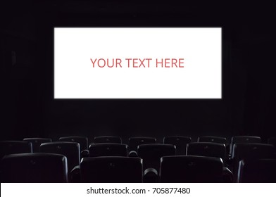Empty screen. Empty cinema screen at the movie theatre isolated copyspace entertainment movies films audience leisure activity presentation hall auditorium advertising concept