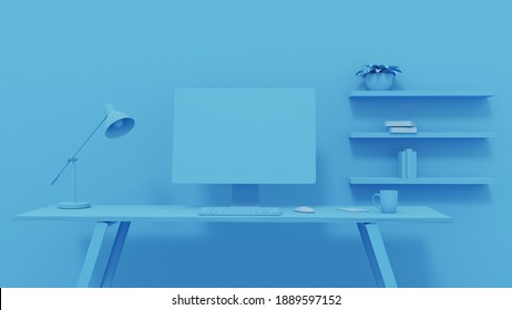 Empty Screen Computer on Desk Blue Background