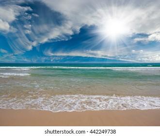 Empty sea and beach background of coastline
