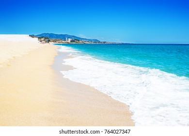 Empty sea and summer beach background with copy space -  tropical  vacation and travel concep.
