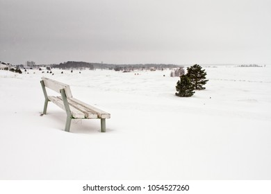An empty seat in a snowstorm at Kalajoki, Finland. The place is a popular tourist attraction in the summertime, but the winter days can be freezing.