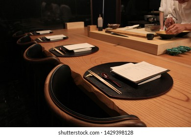 An empty seat waiting for customer to visit this omakase restaurant