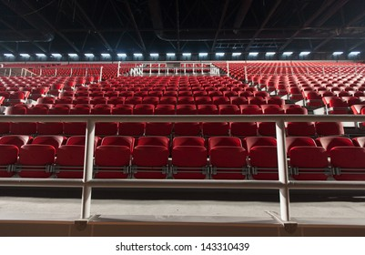 Empty seats in a basketball arena