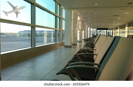 Empty seats in the departure lounge at the airport in the sunset. Empty seats in the departure lounge at the airport. airport waiting room