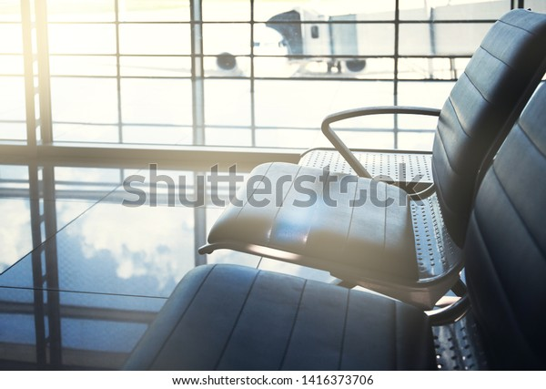 Empty Seats Departure Zone View Airport Transportation Stock Image 1416373706