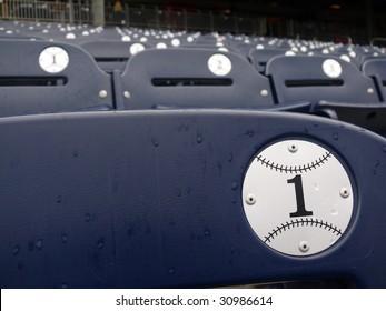 Empty seats during a rain delay in Washington Nationals baseball stadium.
