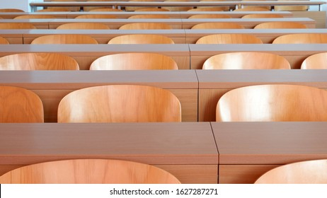 Empty seats in new modern clean lecture hall or classroom