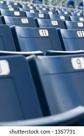 Empty seats in a sports stadium