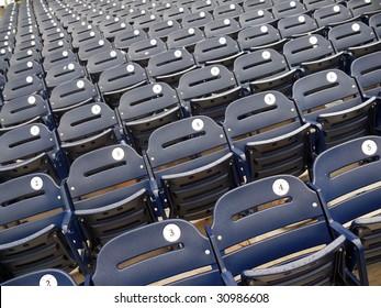 Empty seats in Washington Nationals baseball stadium.