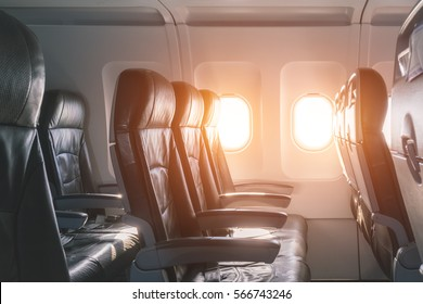 Empty seats and window inside an aircraft