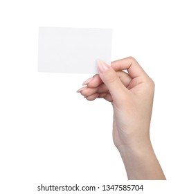 Empty sheet of paper in female hand with manicure isolated on white