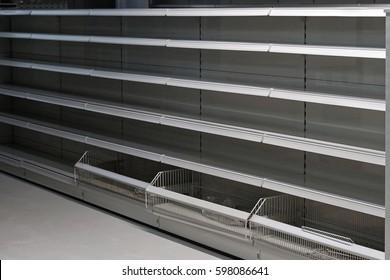 Empty shelf in grocery store