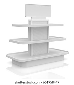 empty shelf on white background (3d render)