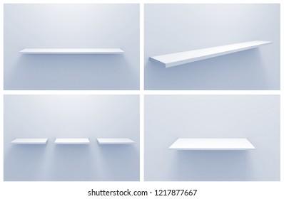 empty shelves on white wall