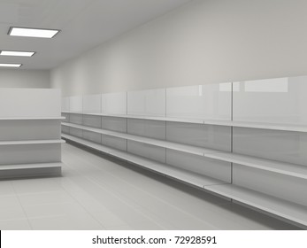 Empty shelves in the store