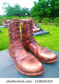 The Empty Shoes Memorial to the martyred soldiers who didn't return home. Shaurya Smarak ( A war Memorial, a tribute to the armed forces), Bhopal,Madhya Pradesh,India on August 12,2018. Editorial use.
