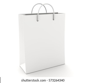 Empty Shopping Bag on the white. 3D illustration