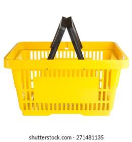 Empty shopping basket isolated on white background