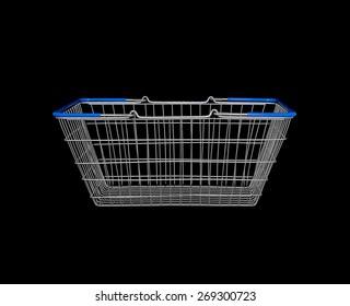 Empty shopping basket on black background