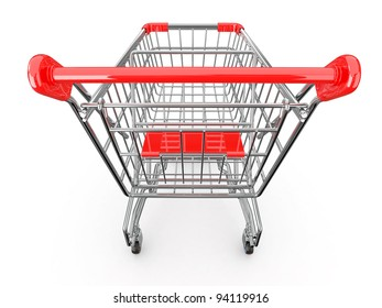 Empty shopping basket on white background. 3d