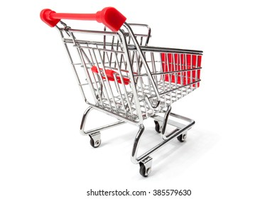 A empty shopping cart, isolated on white background.