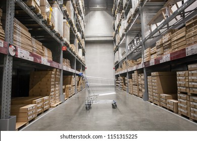 empty shopping cart in storage warehouse