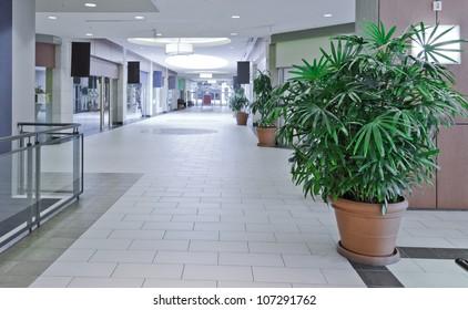 Empty shopping Mall interior.