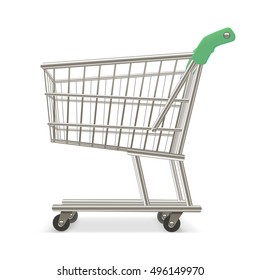 Empty Shopping Supermarket Cart. Business Retail Equipment. illustration