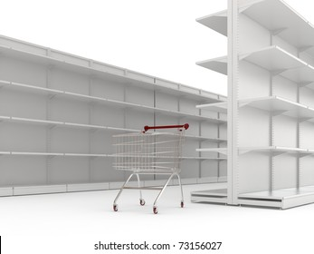 An empty shopping trolley cart and shop shelves isolated on a white background
