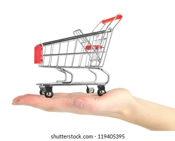 empty shopping trolley on woman hand, isolated on white