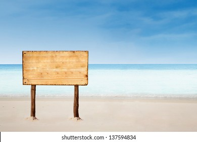 empty sign board with copy space on a beautiful tropical beach