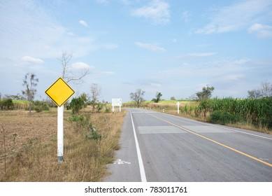Empty sign on desert road in thailand