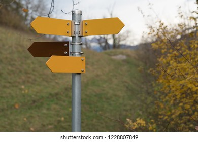 Empty signposts in the park