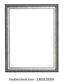 empty silver carved wooden picture frame with cut out canvas isolated on white background