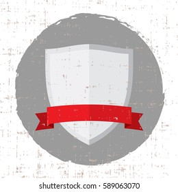 empty silver shield icon with red banner and grunge screen texture