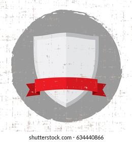 empty silver shield illustration