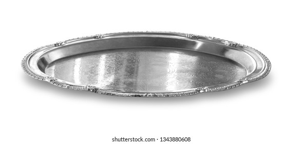 empty silver tray isolated on white background with clipping path