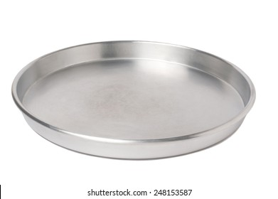 empty silver tray isolated over white background
